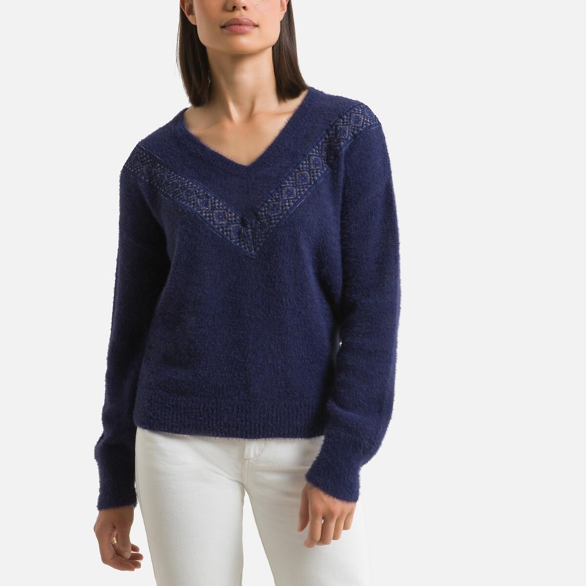 Пуловер LaRedoute С V-образным вырезом из тонкого трикотажа 42/44 (FR) - 48/50 (RUS) синий рубашка laredoute ночная с v образным вырезом цветочный принт 38 40 fr 44 46 rus синий