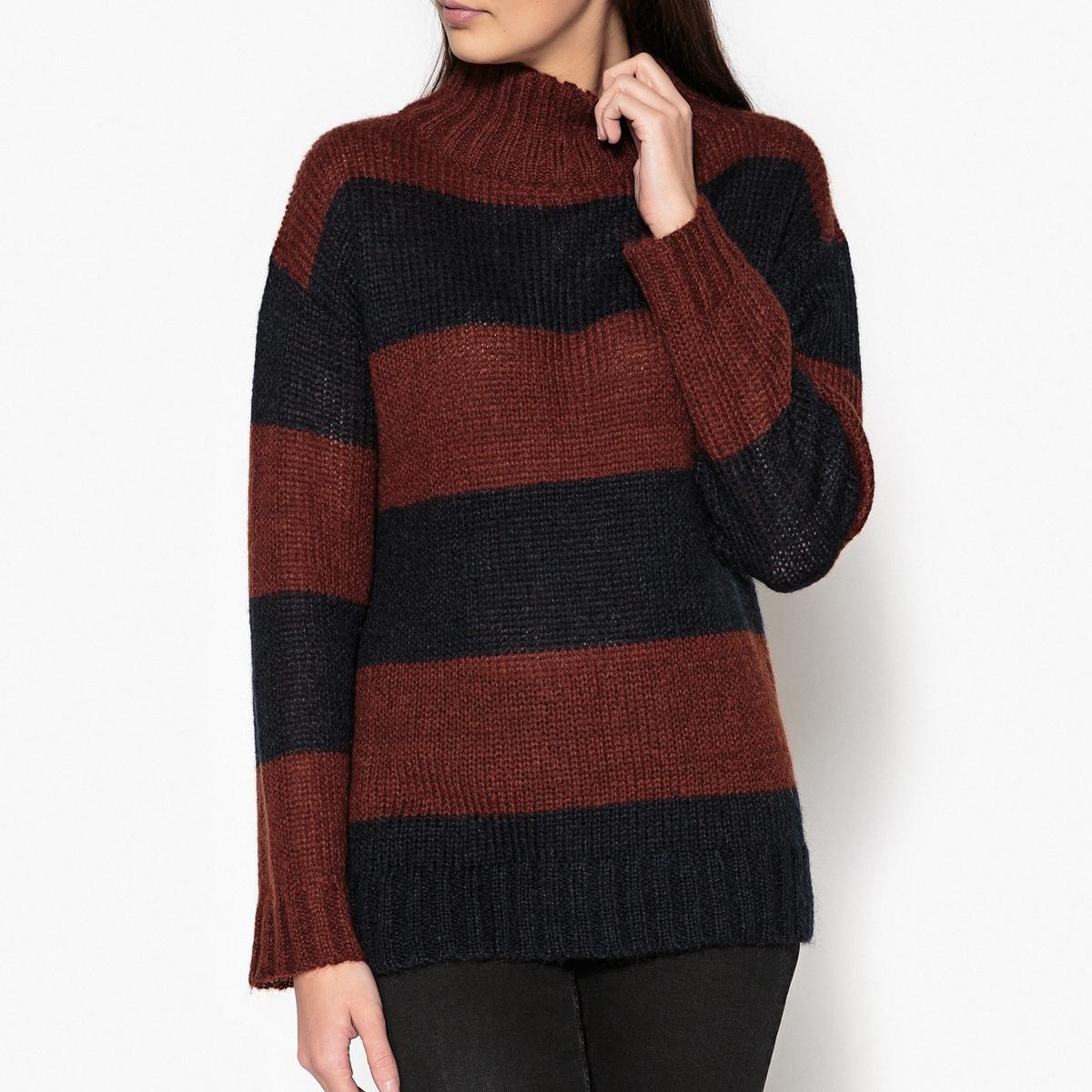 Пуловер двухцветный с воротником-стойка трикотажный MAUD