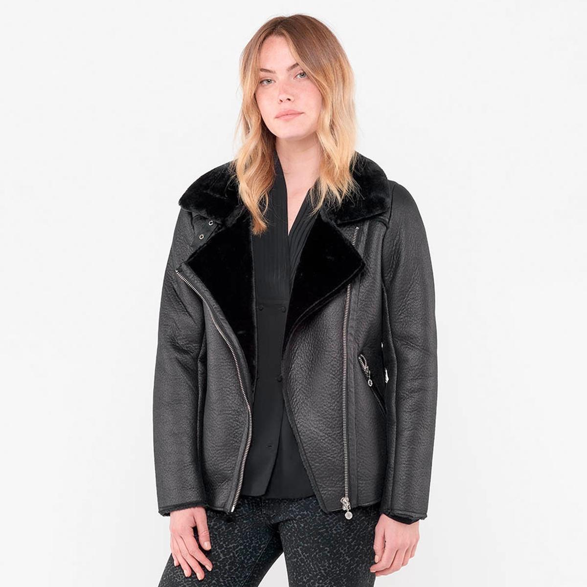 Блузон La Redoute Из искусственной кожи с воротником из искусственного меха M черный жакета одежда из кожи и меха