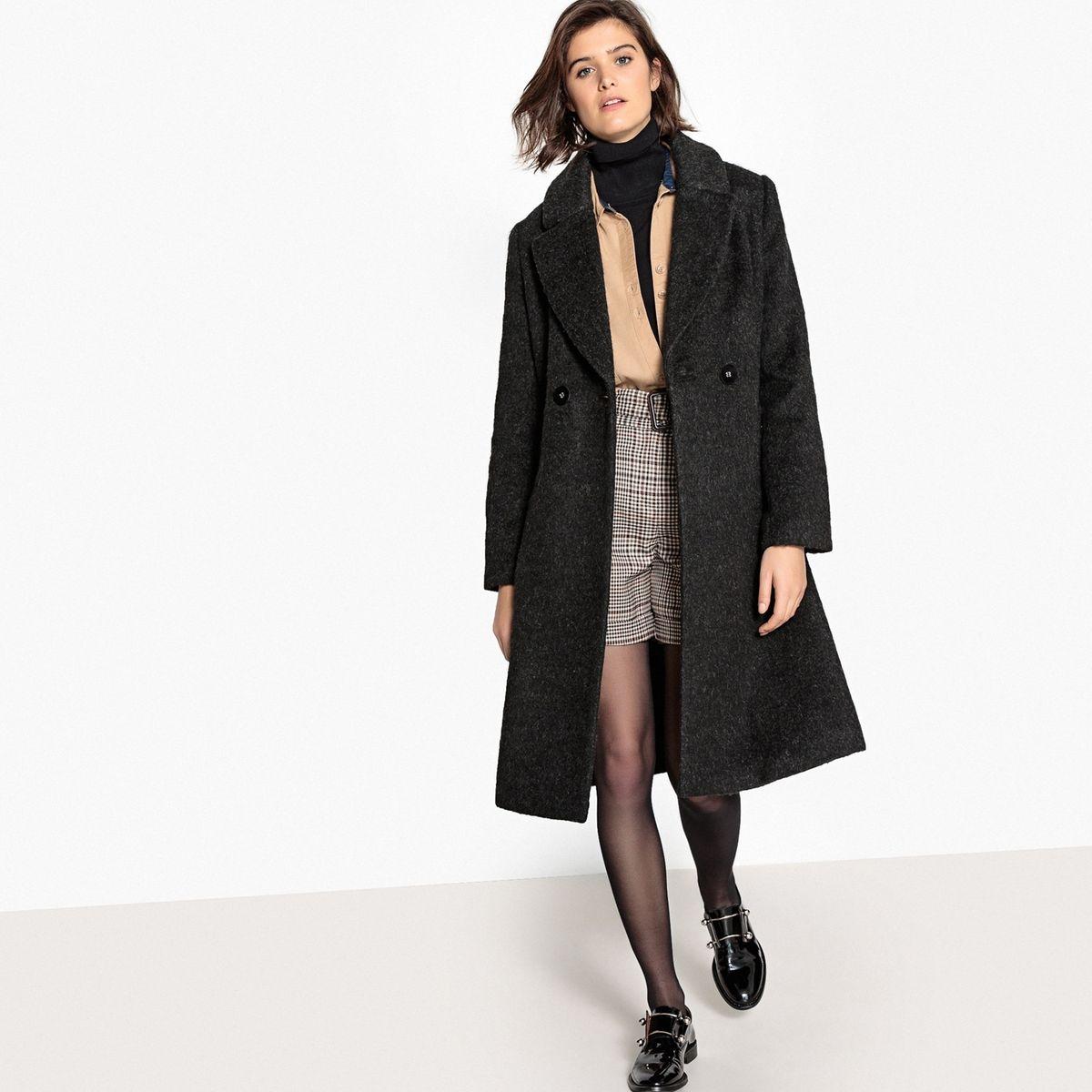 Manteau mi-long en laine mélangée