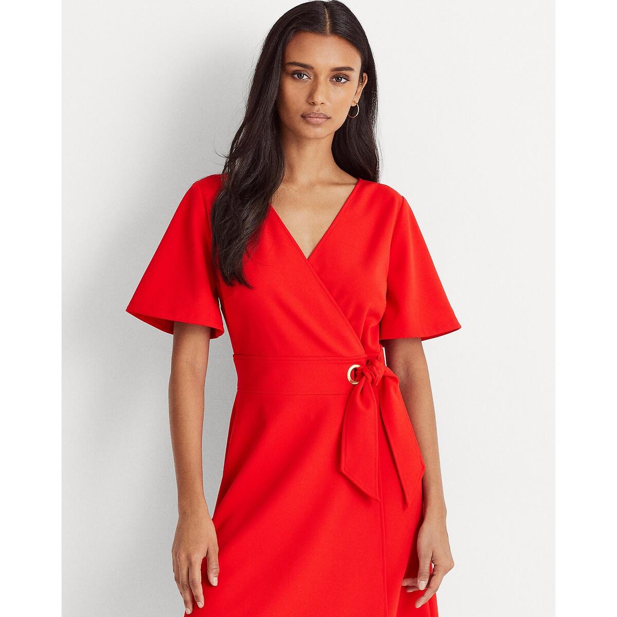 Платье LaRedoute С запахом и короткими рукавами 38 (FR) - 44 (RUS) красный