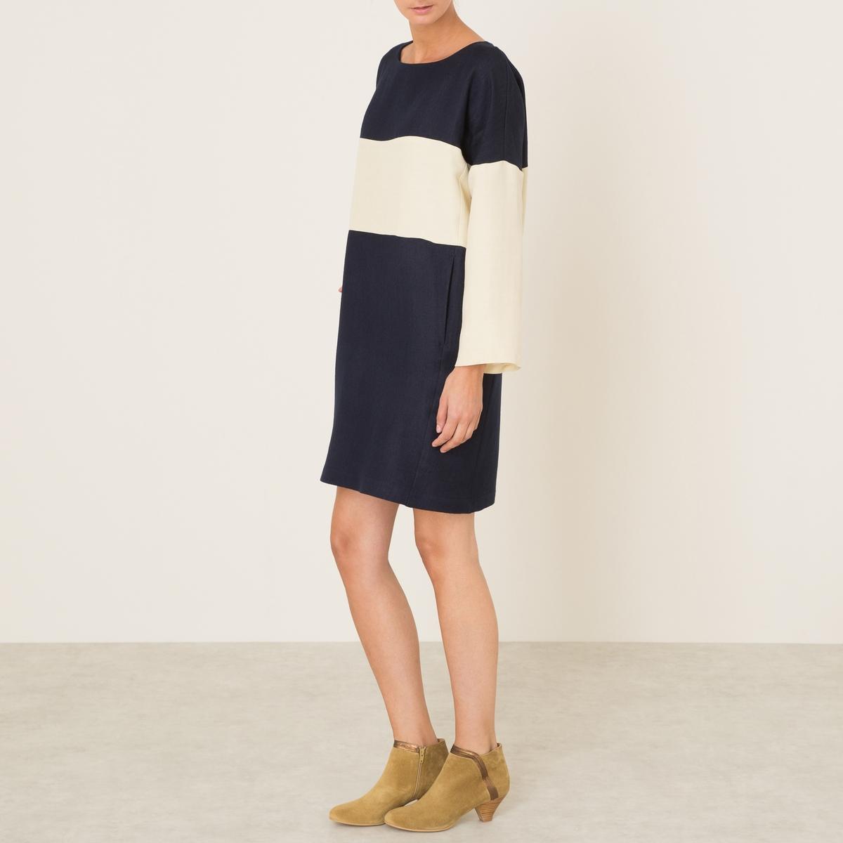 Платье FLORAСостав и описание Материал : 56% льна, 44% шерстиМарка : MOMONI<br><br>Цвет: экрю/ темно-синий<br>Размер: S