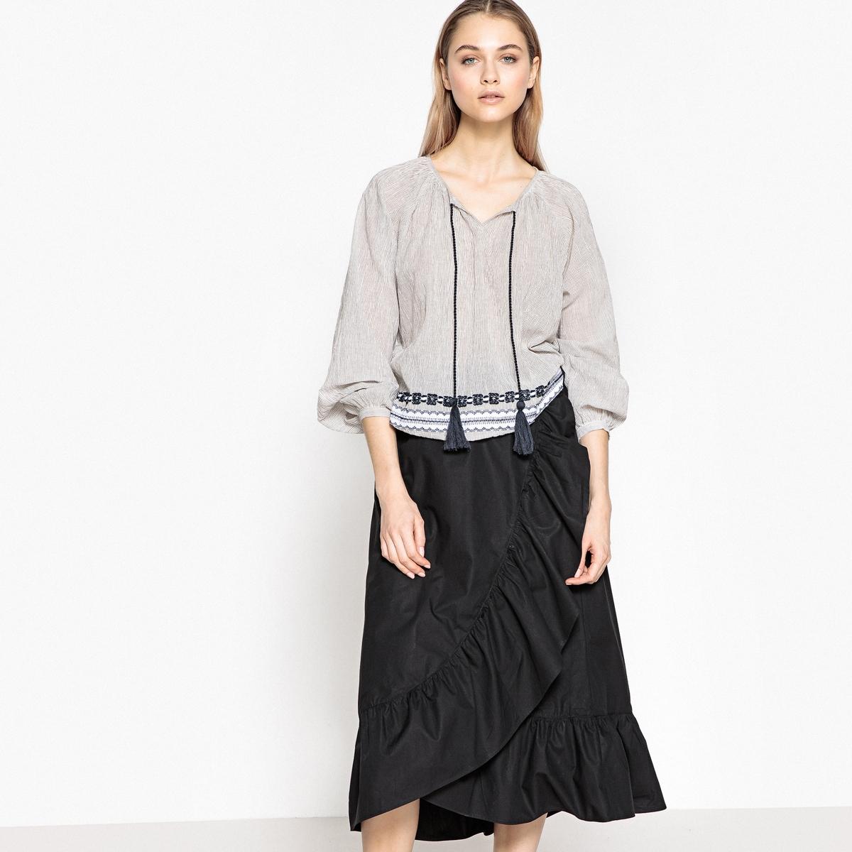 Falda cruzada con volante, 100% algodón