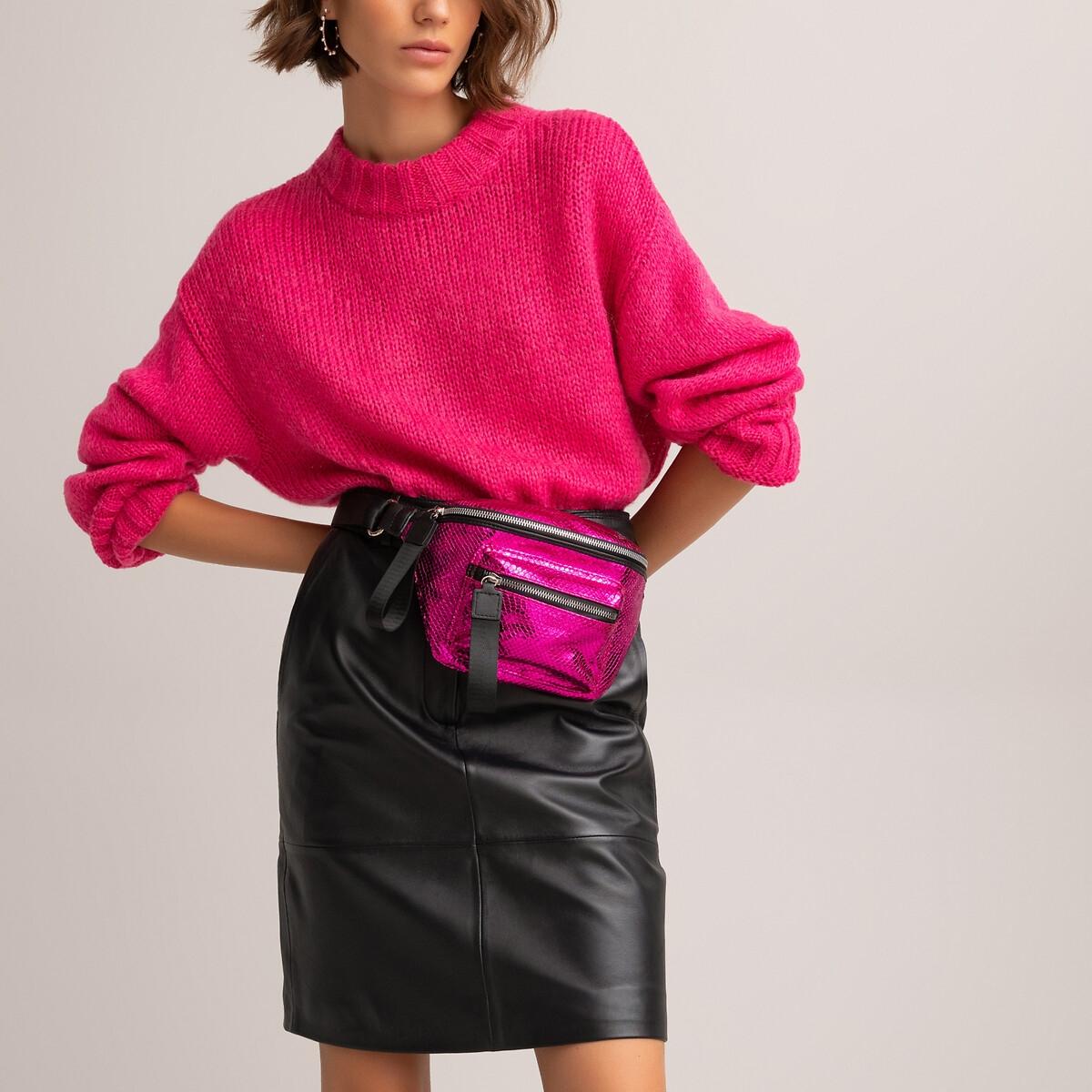 Сумка La Redoute Поясная с эффектом кожи питона UNI розовый сумка la redoute кожаная маленькая с клапаном с вышивкой uni розовый