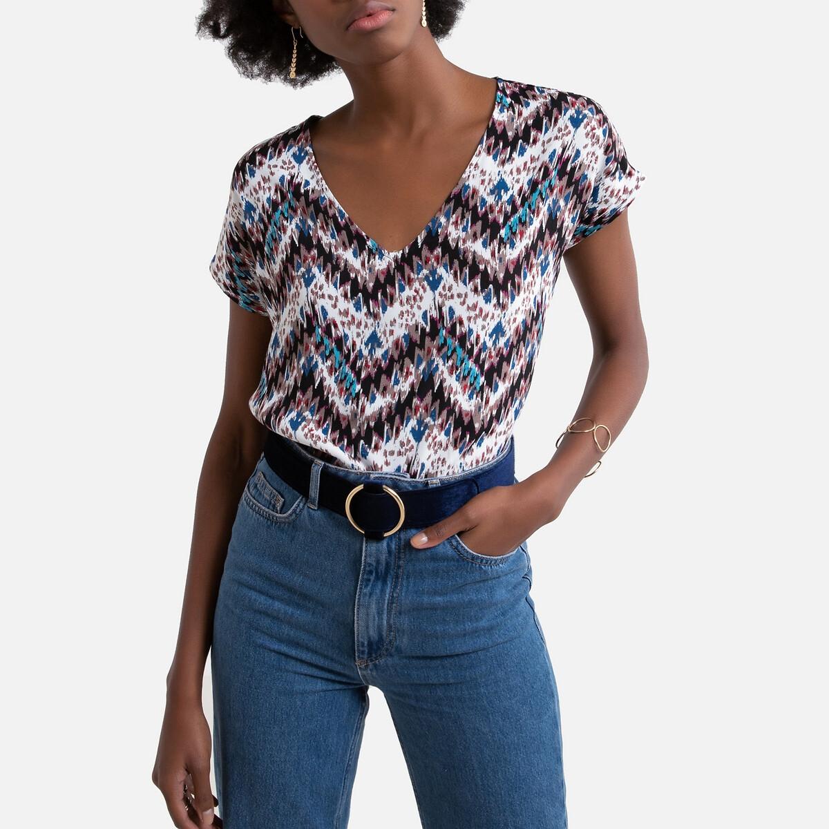 блузка женская oodji collection цвет бежевый бордовый 21400321 2 33116 3349e размер 36 42 170 Блузка LaRedoute С короткими рукавами и V-образным вырезом 36 (FR) - 42 (RUS) бежевый