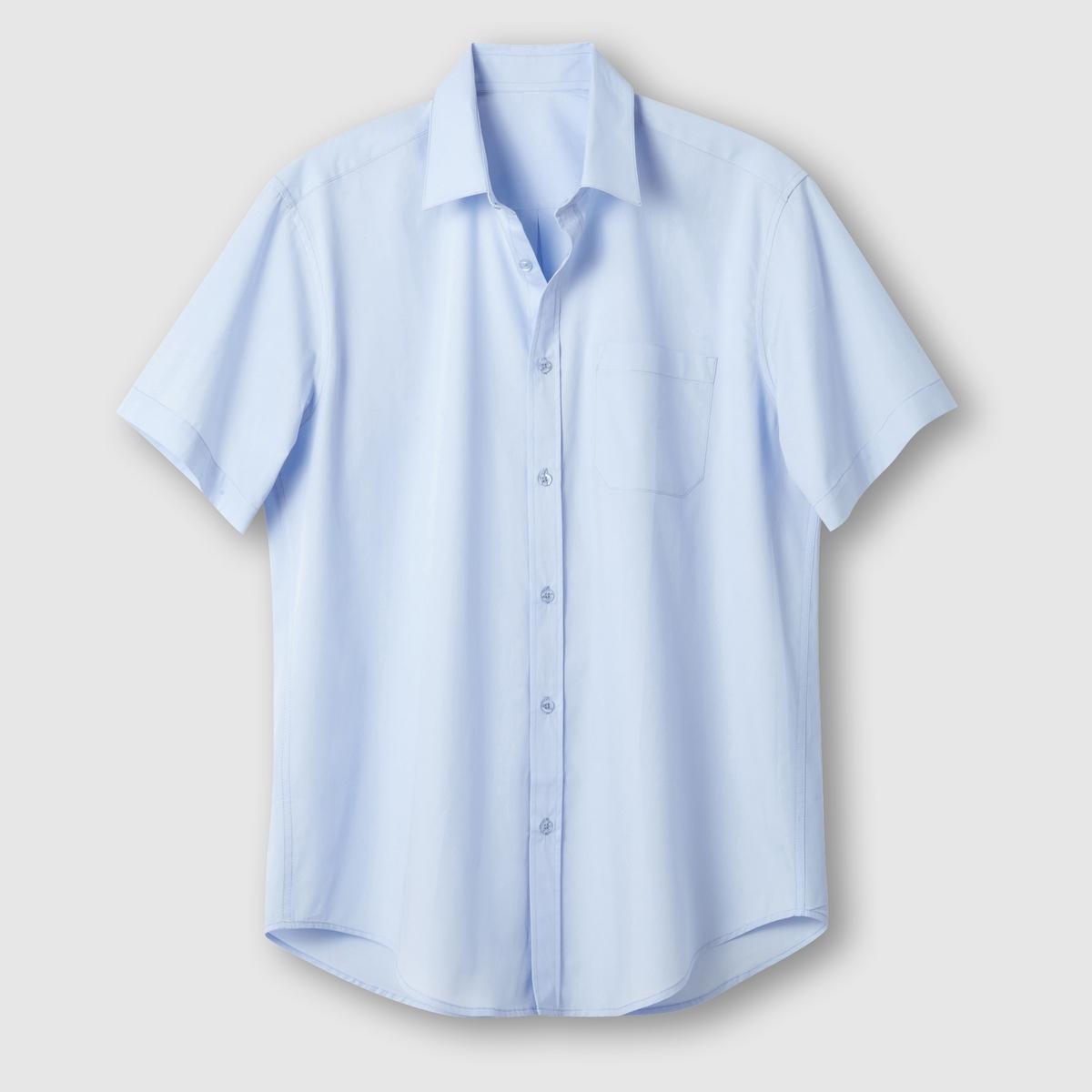 Рубашка однотонная с короткими рукавамиОписание:Детали •  Короткие рукава •  Прямой покрой •  Классический воротникСостав и уход    •  Стирать при 40° •  Любые растворители / не отбеливать   • Барабанная сушка на слабом режиме       • Средняя температура глажки Товар из коллекции больших размеров •  Длина  : 88 см<br><br>Цвет: белый,голубой,темно-синий,черный<br>Размер: 43/44.47/48.41/42.43/44.47/48.51/52.53/54.47/48.53/54.51/52