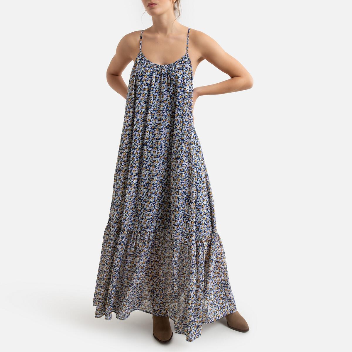 Платье LaRedoute Длинное с рисунком XS разноцветный платье la redoute расклешенное на тонких бретелях с рисунком 3 12 лет 8 лет 126 см розовый
