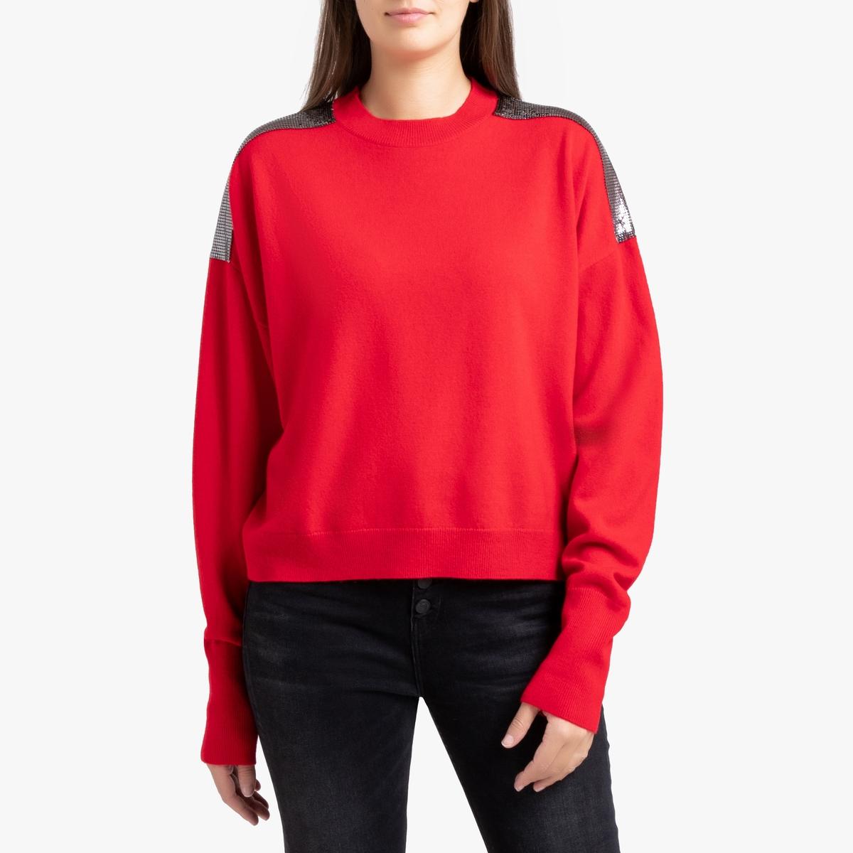 Пуловер La Redoute С круглым вырезом из шерсти и кашемира 3(L) красный ic men коричневый пуловер из кашемира