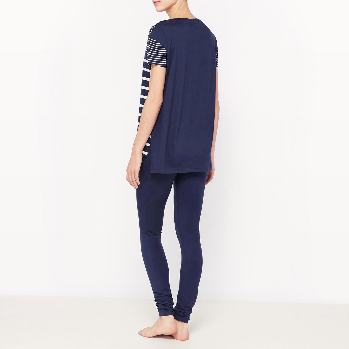 Пижама из хлопка с короткими рукавамиСостав и описание :Материал : 100% хлопокДлина : футболки 72 см.Длина по внутр.шву : 76 смУход :Машинная стирка при 40°С.Стирать с вещами схожих цветов.Гладить с изнаночной стороны.<br><br>Цвет: синий + в полоску темно-синий/белый