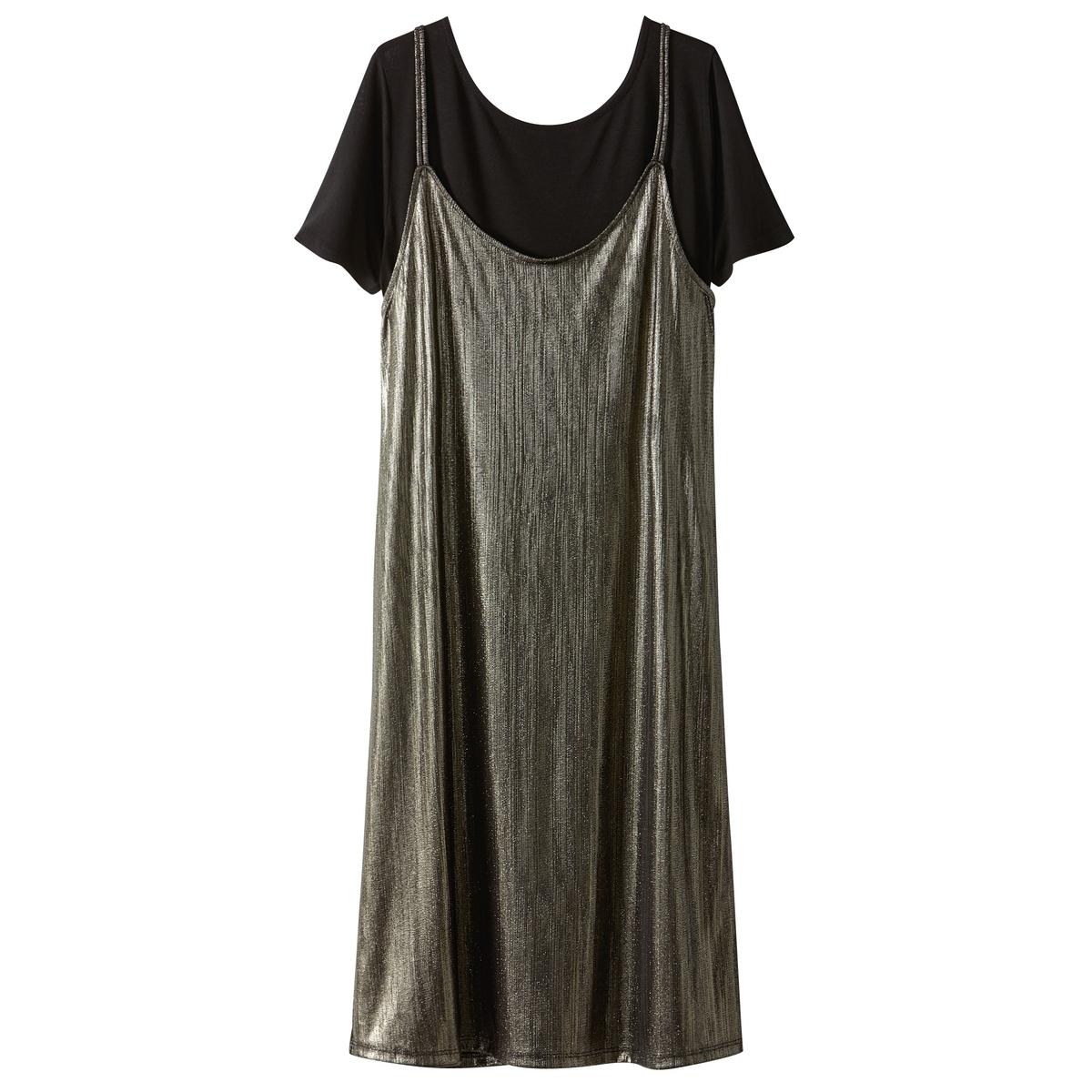 Платье с парчовым эффектом,  2 в 1, с футболкой