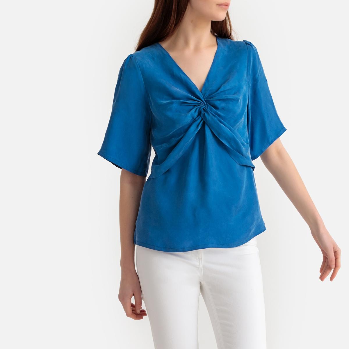цена Блузка La Redoute С драпировкой на груди и короткими рукавами XS синий онлайн в 2017 году