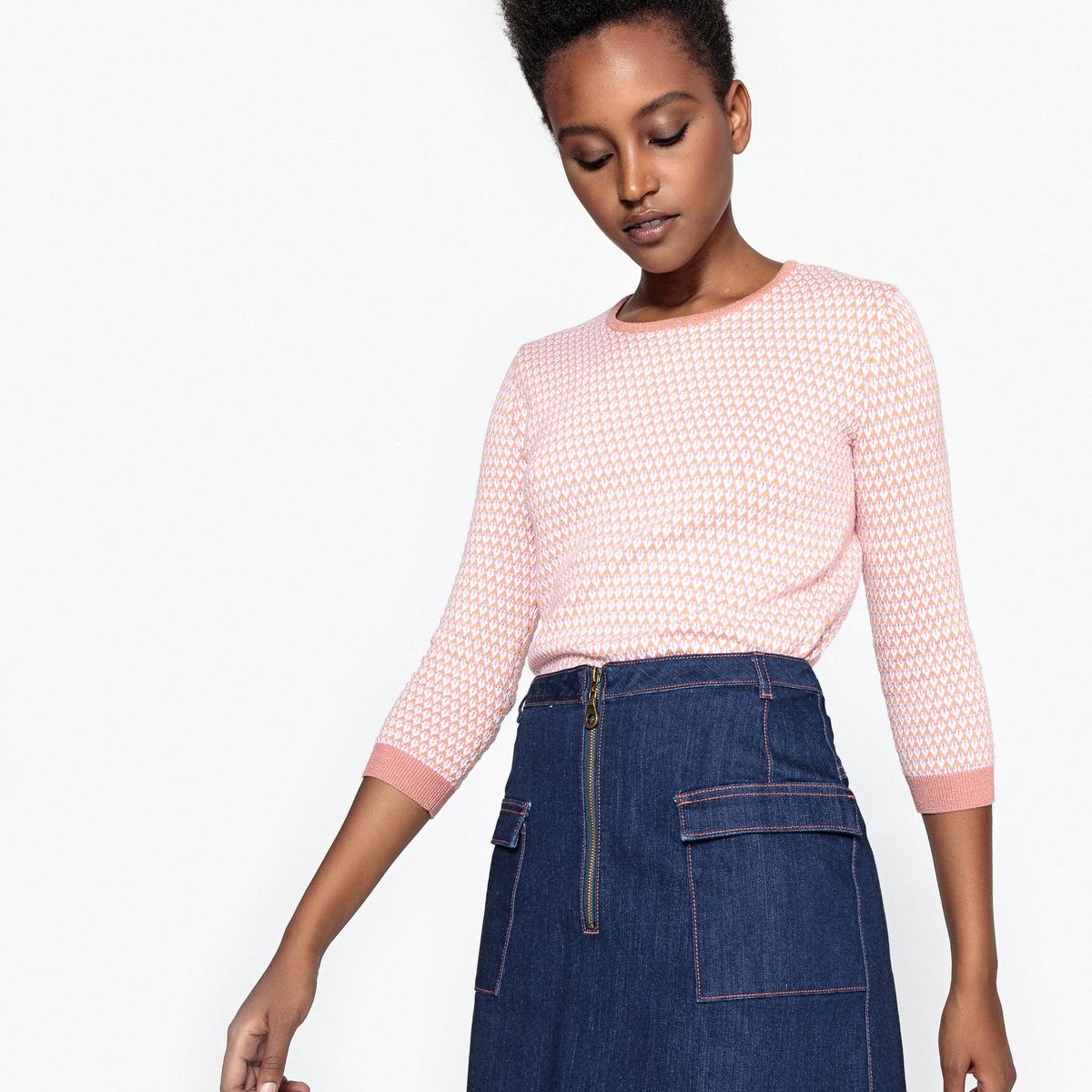 Пуловер жаккардовый двухцветный с рукавами 3/4 пуловер свободный с рукавами 3 4