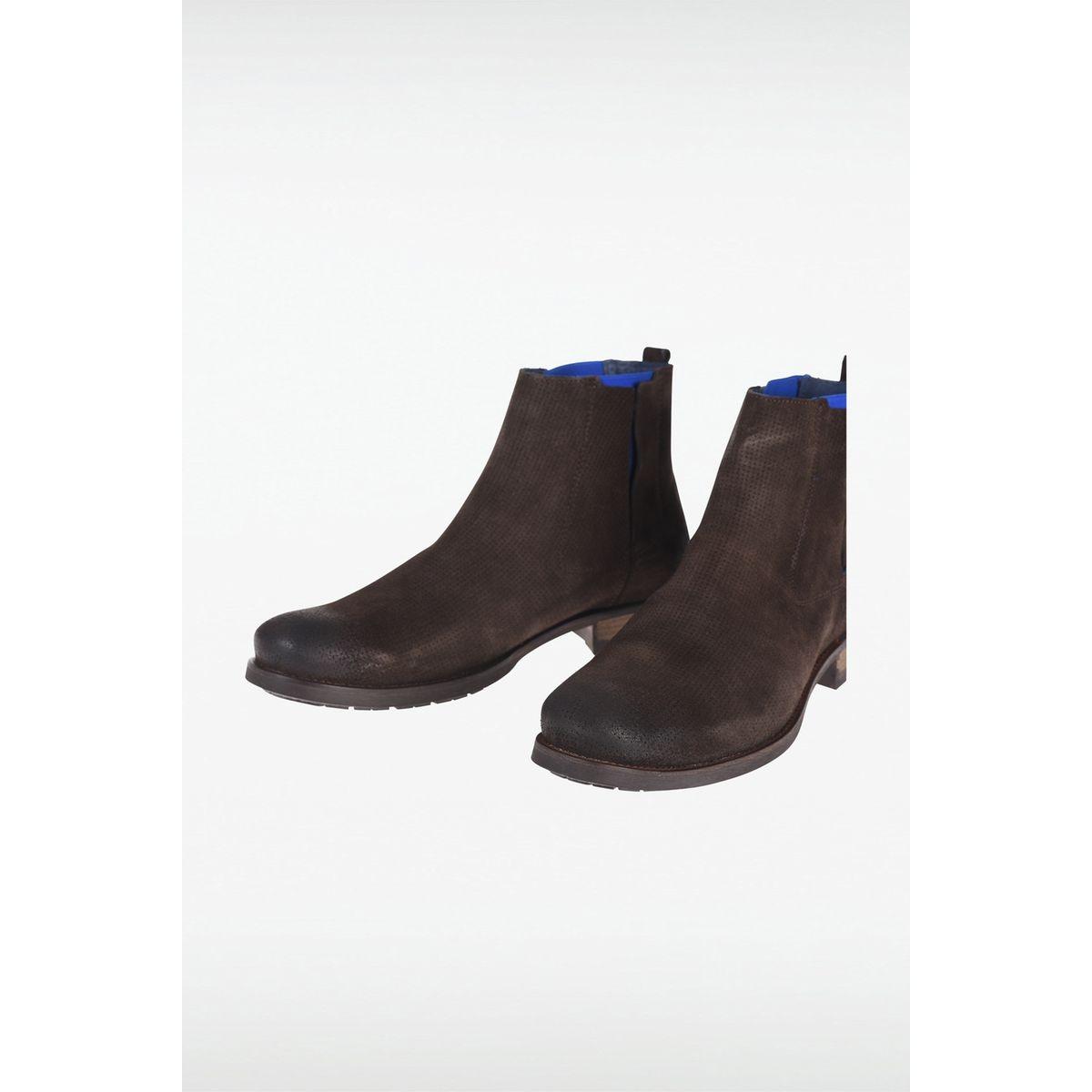 Boots homme cuir élastique coloré
