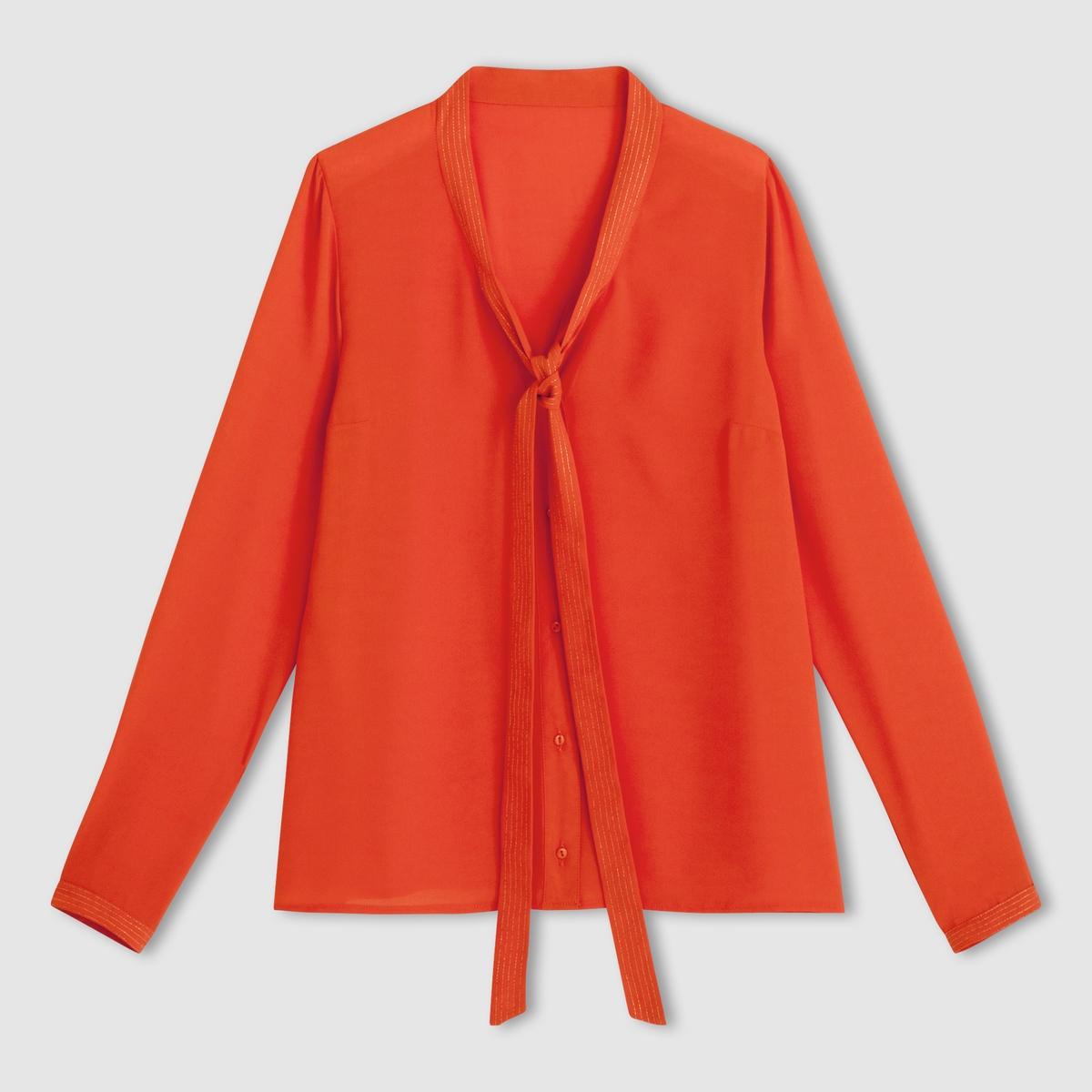 Блузка с галстукомБлузка с галстуком и длинными рукавами. Галстук на завязке. 100% полиэстера.Нашивки из металлизированной ткани. Длина ок.66 см.<br><br>Цвет: оранжевый<br>Размер: 38 (FR) - 44 (RUS)