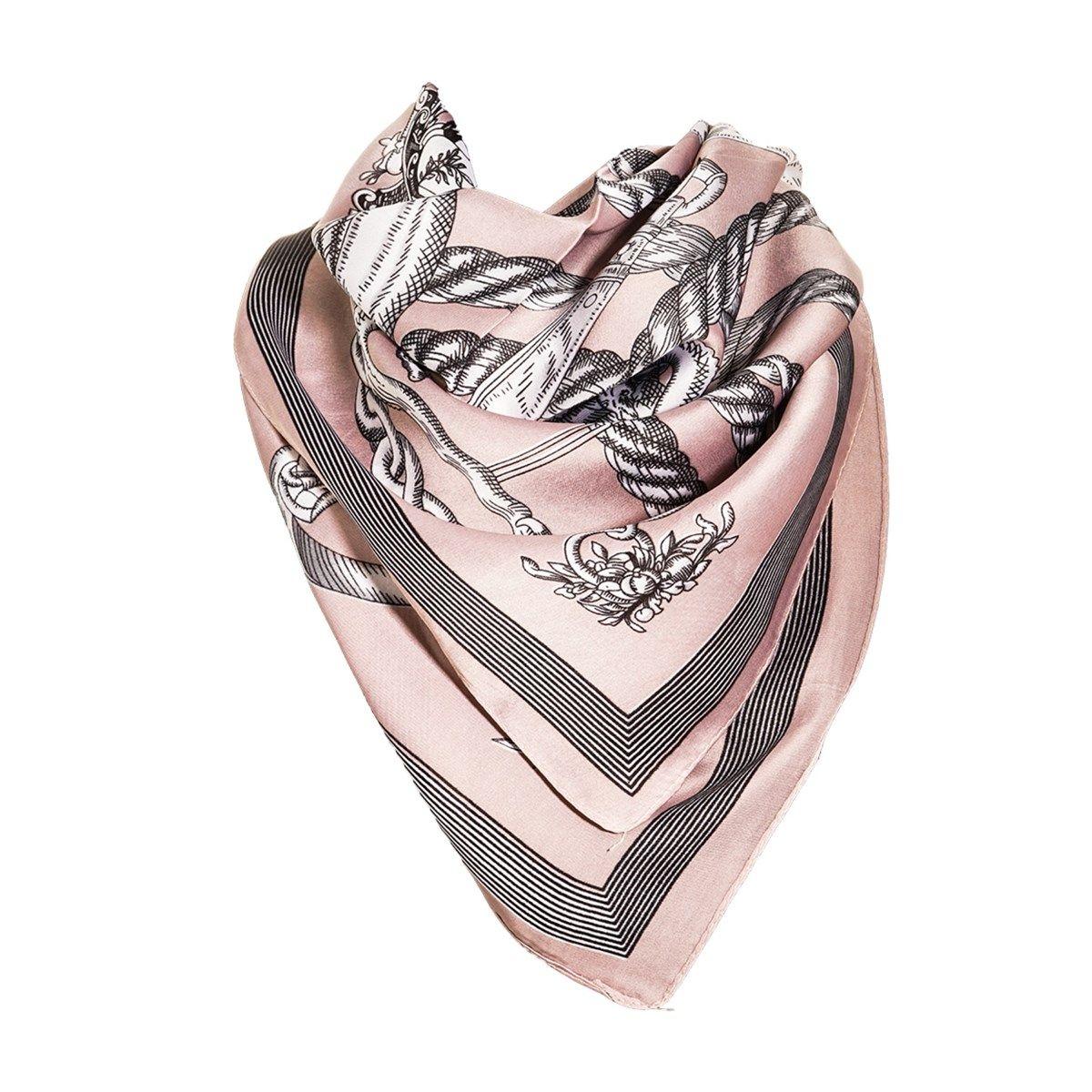 Foulard motif Rose avec sa pochette cadeau