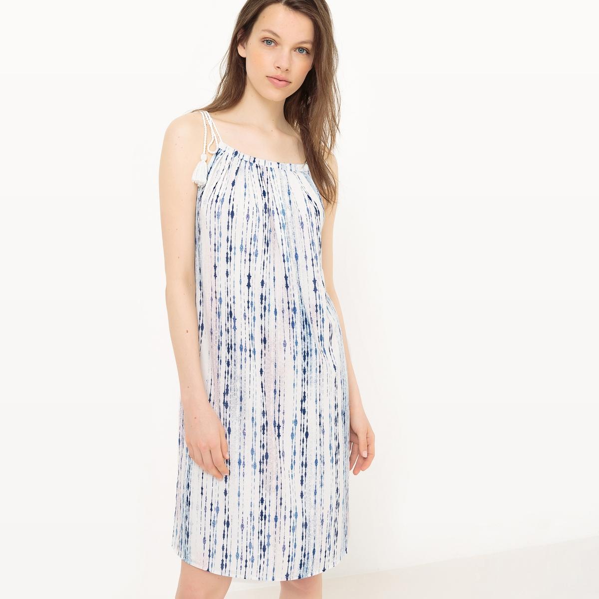 Платье короткое с тонкими бретелямиМатериал : 5% эластана, 95% полиэстера  Длина рукава : тонкие бретели  Форма воротника : V-образный вырез Покрой платья : платье прямого покроя    Рисунок : принт   Длина платья : короткое<br><br>Цвет: белый/ синий<br>Размер: L