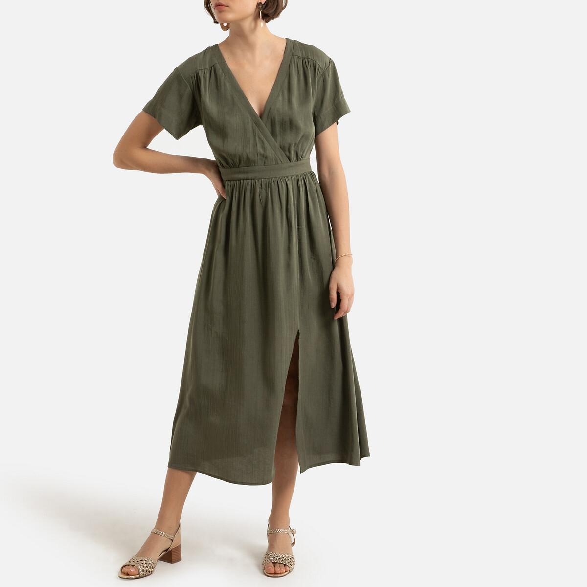 Платье-миди LaRedoute С короткими рукавами и V-образным вырезом 1(S) зеленый футболка laredoute с круглым вырезом и короткими рукавами из льна s зеленый