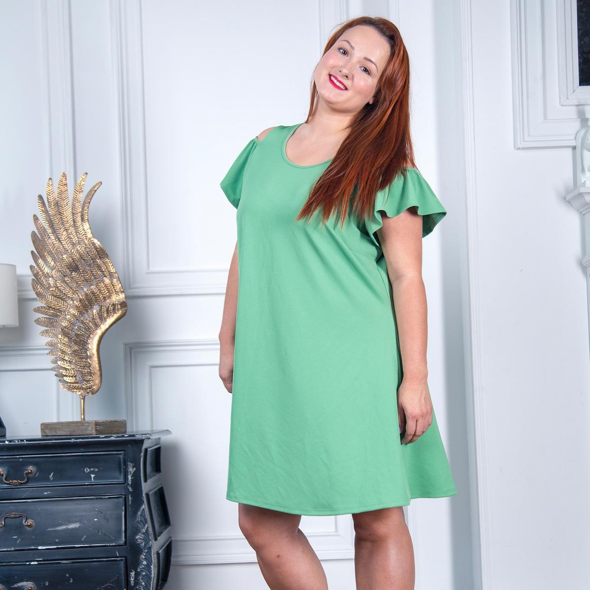 Платье LaRedoute Расклешенное с открытыми плечами 50 (FR) - 56 (RUS) зеленый пуловер la redoute с открытыми плечами из плотного трикотажа с узором косы 40 fr 46 rus зеленый