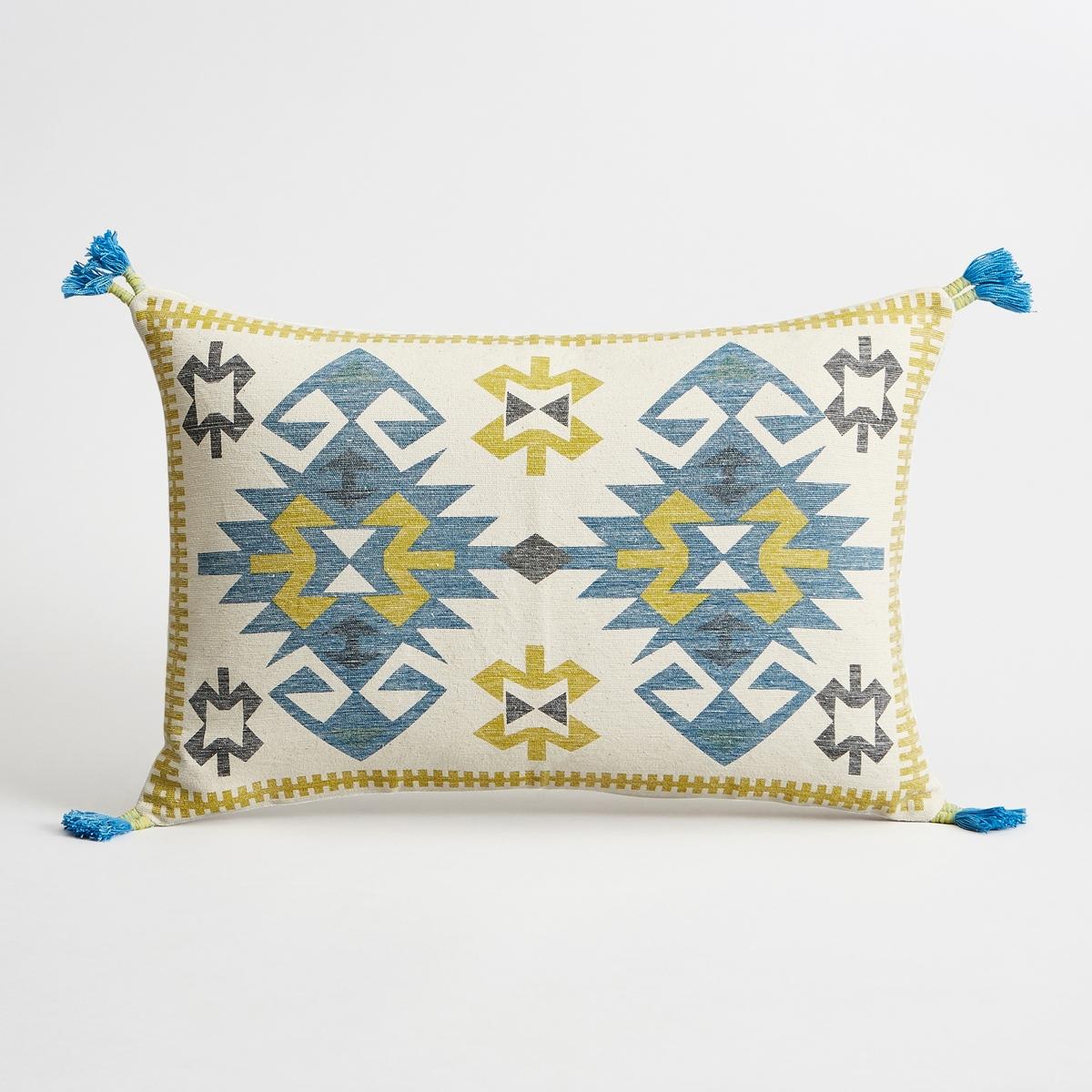 Наволочка на подушку-валик бирюзового цвета, Boissonie<br><br>Цвет: синий
