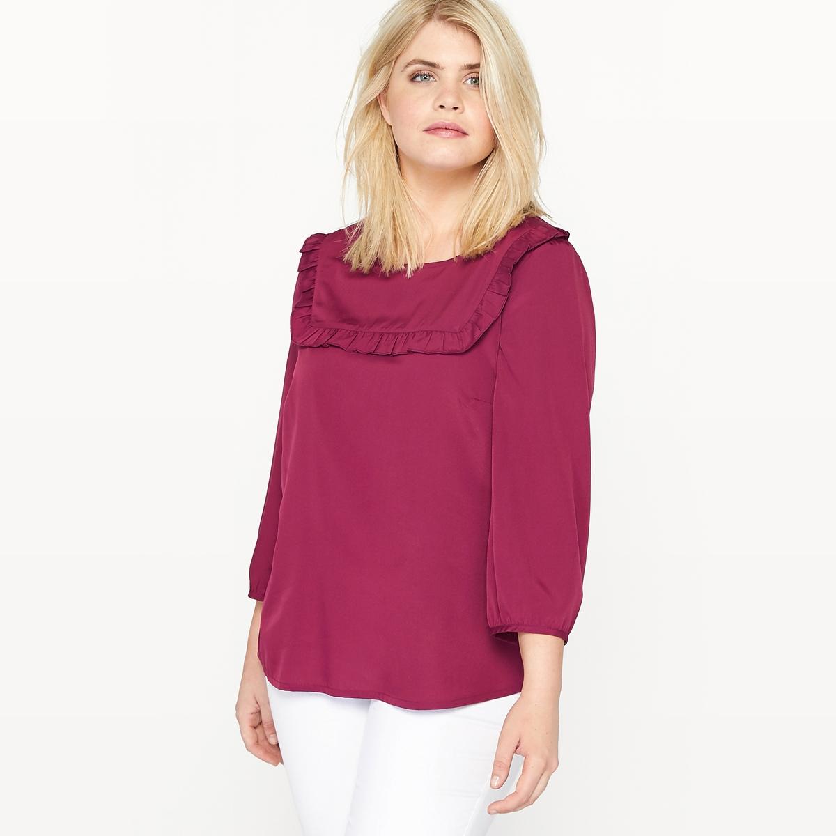 Блузка с манишкой, воланами и длинными рукавами