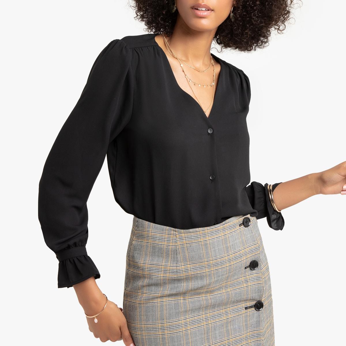 Блузка LaRedoute С V-образным вырезом и длинными рукавами 40 (FR) - 46 (RUS) черный рубашка laredoute с v образным вырезом и длинными рукавами 46 fr 52 rus бежевый