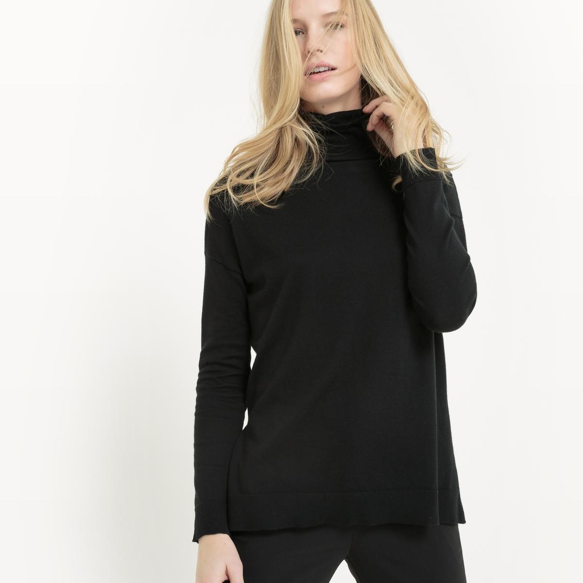 Пуловер с отворачивающимся воротником из хлопка/шелка