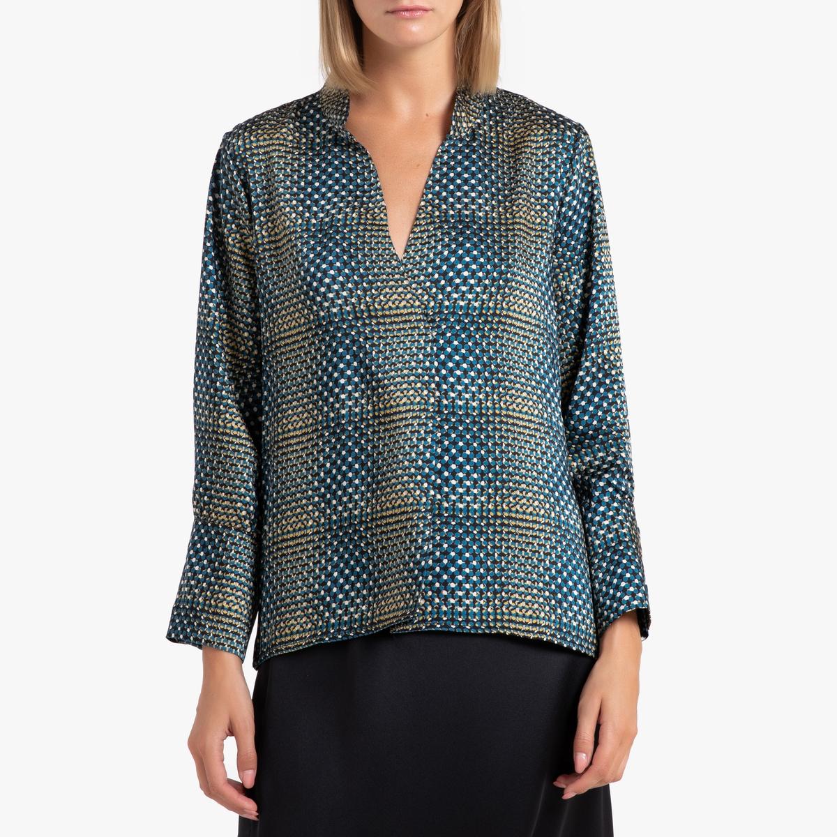 Блуза La Redoute С рисунком и длинными рукавами S синий