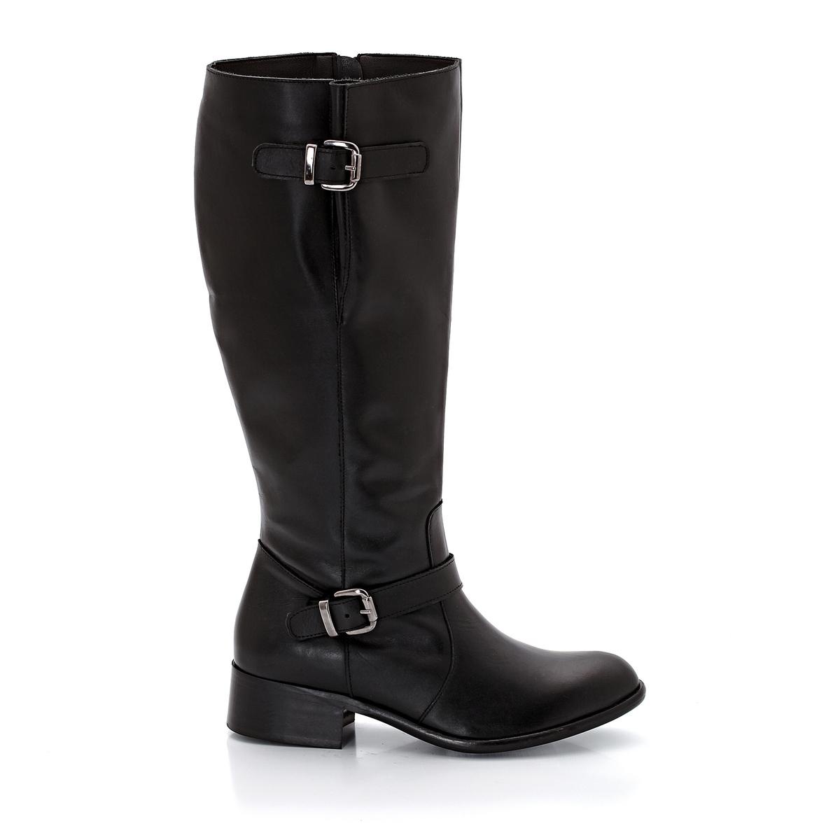 Сапоги из кожиПодошва : Пористый эластомер Высота каблука : 3,5 см.Высота голенища : 38 смОбхват икры : 41 ? 48 cmЗастежка : на молнию  сбоку.Преимущества : Регулируемая высота голенища для  оптимального комфорта  и ремешки  с оригинальными пряжками . Соответствие между размером обуви и обхватом икры :- Размер 38/39 : Обхват икры  41 - 42 см - Размер  40/41 см : Обхват икры  43 - 44 см Размер 42/43 : Обхват икры  45 -46 смРазмер  44/45 : Обхват икры  47 -48<br><br>Цвет: черный<br>Размер: 38.39.40.45