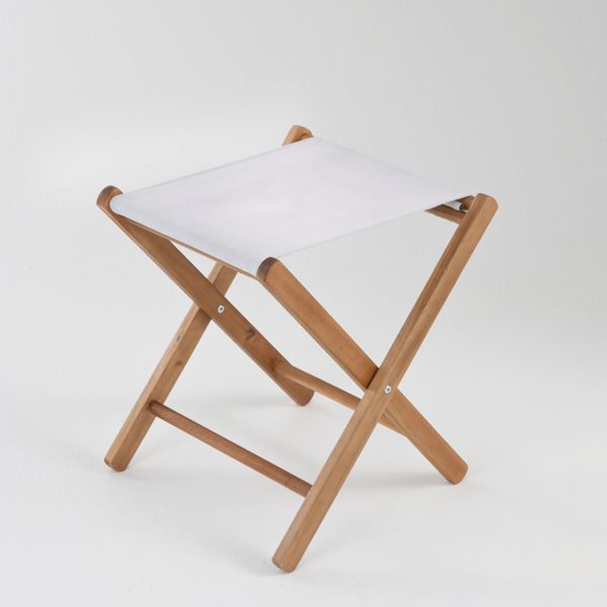 Табурет складной из акации, AmezzaСкладной табурет или подставка для ног из акации (контролируемая древесина). Идеально подходит для отдыха в саду или в качестве подставки для ног рядом с креслом.Характеристики складного табурета :- Выполнен из акации (контролируемая древесина).- Тонировка тиковое дерево- Сиденье из устойчивой к УФ-излучению плотной ткани, 100% полиэстера.Данная модель табурета требует самостоятельной сборки, инструкция по сборке прилагается.Размеры : - Общие размеры : Д. 40 x В. 46 x Г. 42 см.<br><br>Цвет: серо-коричневый каштан,серый жемчужный,синяя полоска