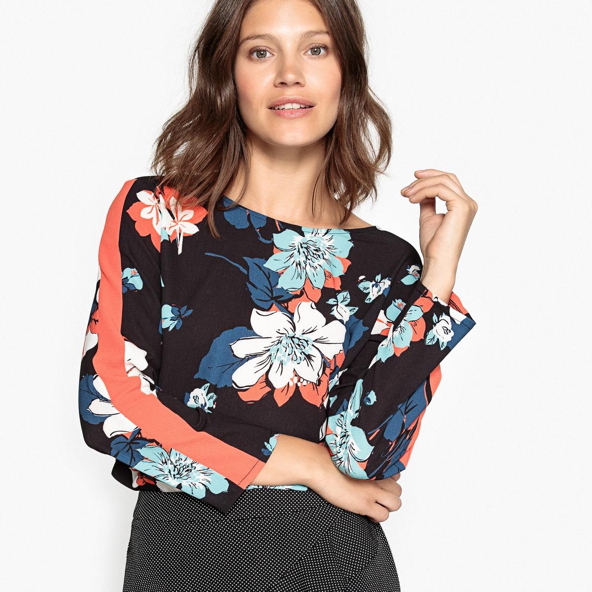 Блузка с V-образным вырезом сзади и цветочным рисунком на черном фоне