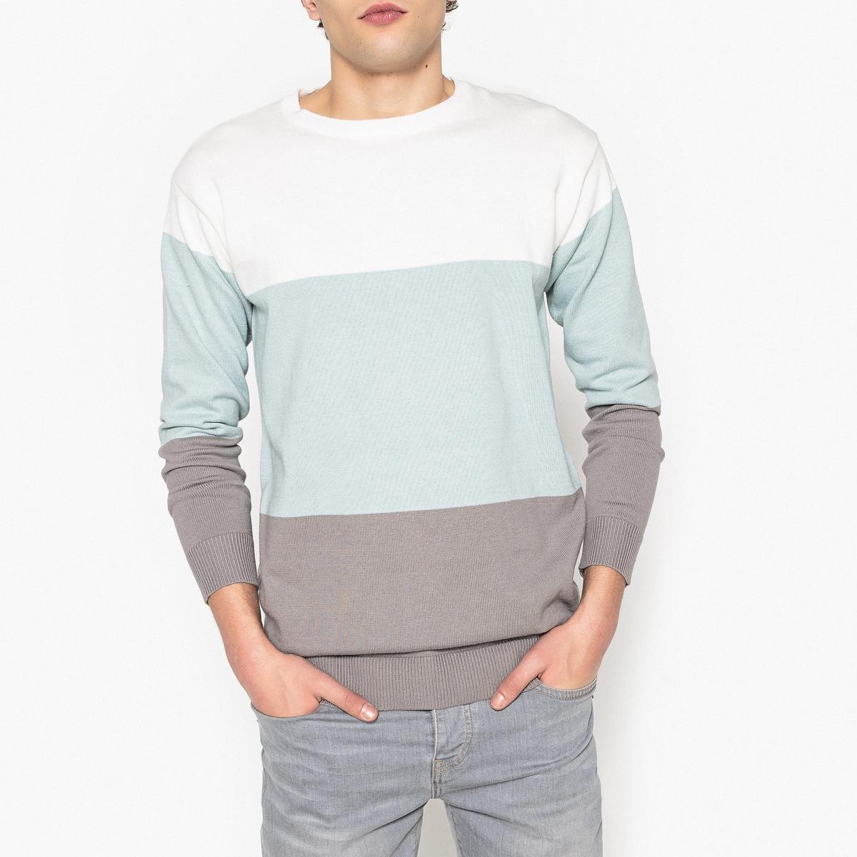 Пуловер в полоску с круглым вырезом из тонкого трикотажа