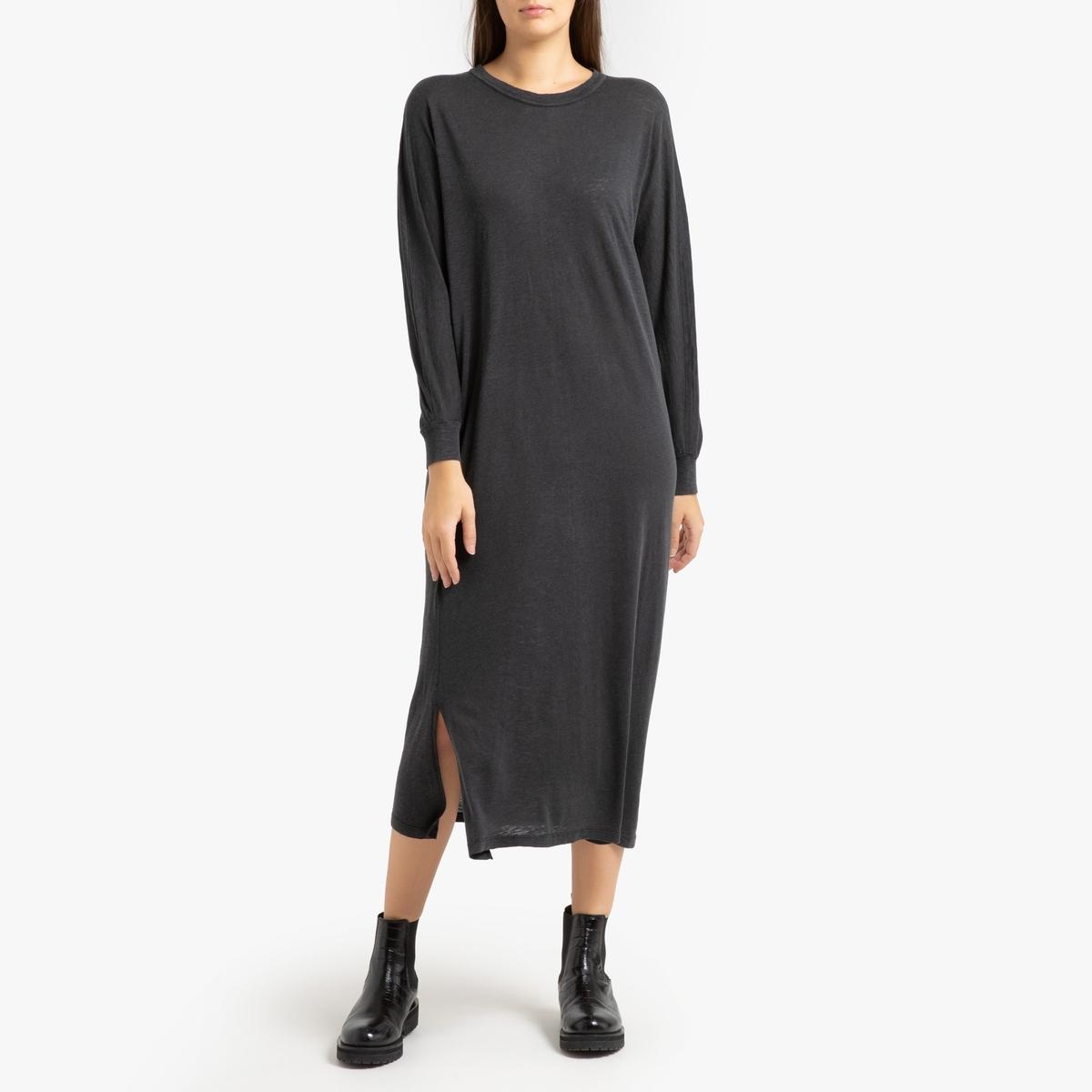 Платье La Redoute Прямое длинное с длинными рукавами KOBIBAY M/L серый