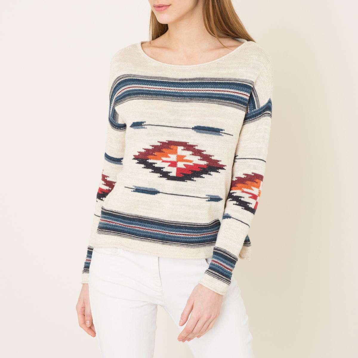 Пуловер из жаккардового трикотажаСостав и описание    Материал : 100% хлопок   Марка : Denim and Supply Ralph Lauren<br><br>Цвет: экрю