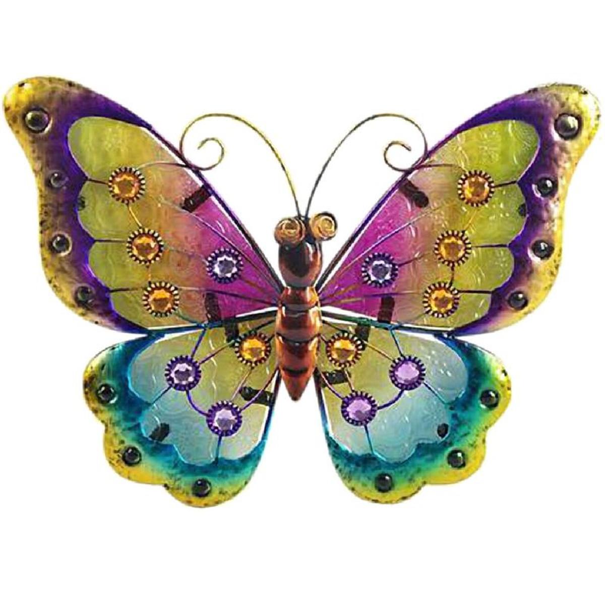 Papillon déco murale 21 x 24 cm - modèle multicolore