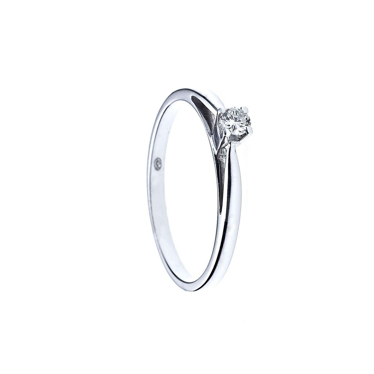 Bague Solitaire Diamant - Or Blanc 750 Millièmes (18 Carats) - Disponible de la taille 48 à la taille 60 -