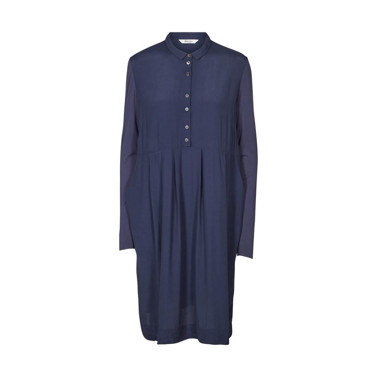 Платье объемного кроя с длинными рукавами и рубашечным воротником от AND LESS