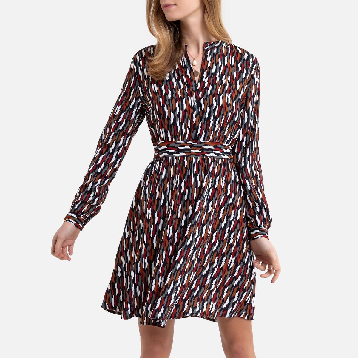цена Платье-рубашка La Redoute С принтом воротник-стойка 38 (FR) - 44 (RUS) каштановый онлайн в 2017 году