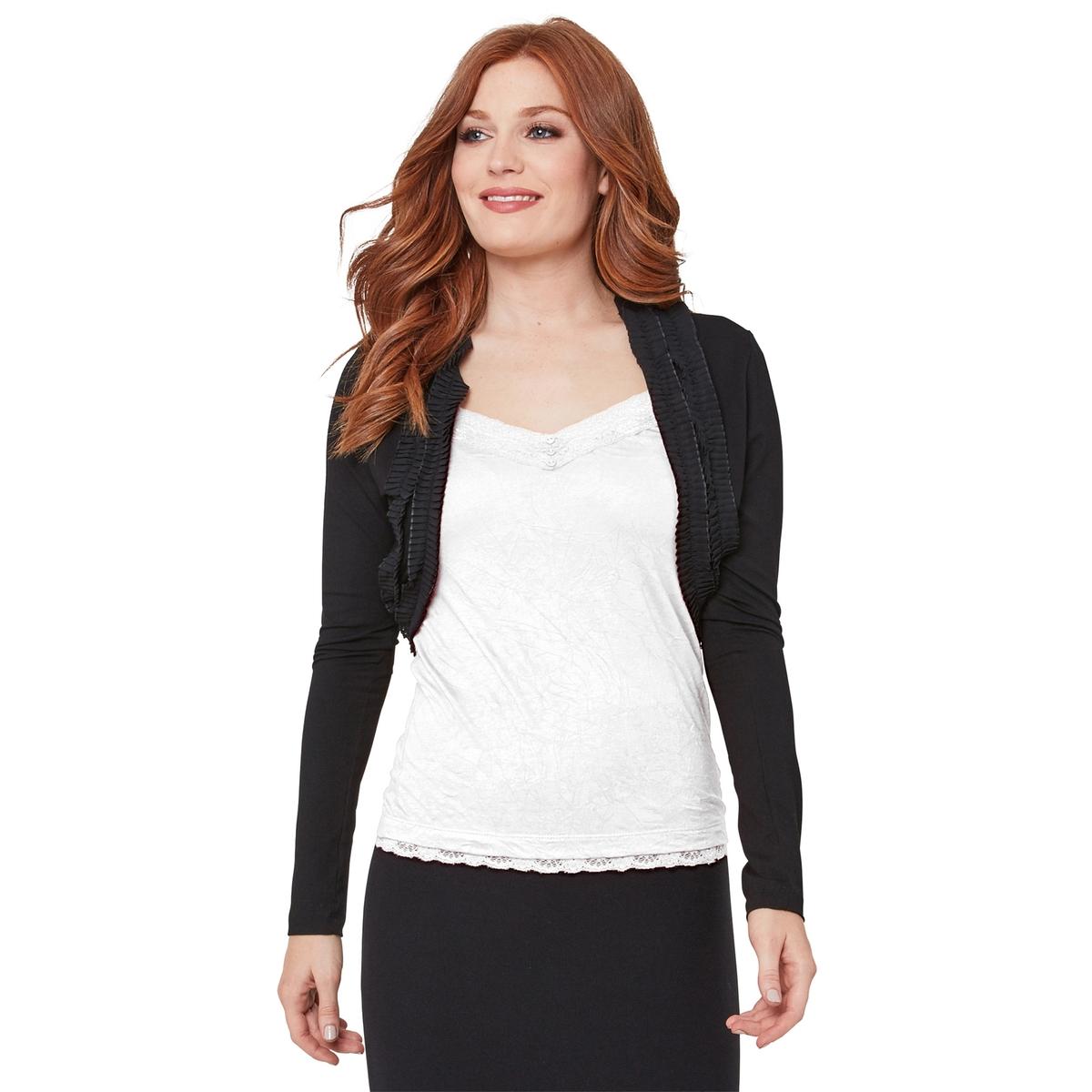 Кардиган La Redoute Короткий со складками и длинными рукавами L черный классическое платье с длинными рукавами и складками на юбке liu jo
