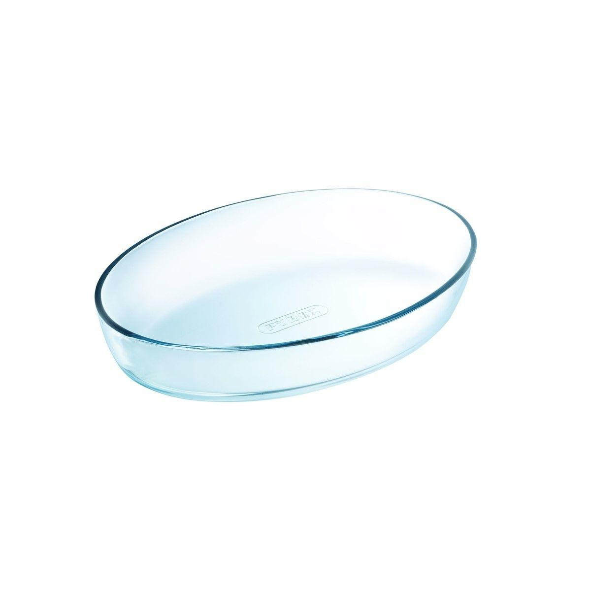 Plat à four ovale en verre transparent