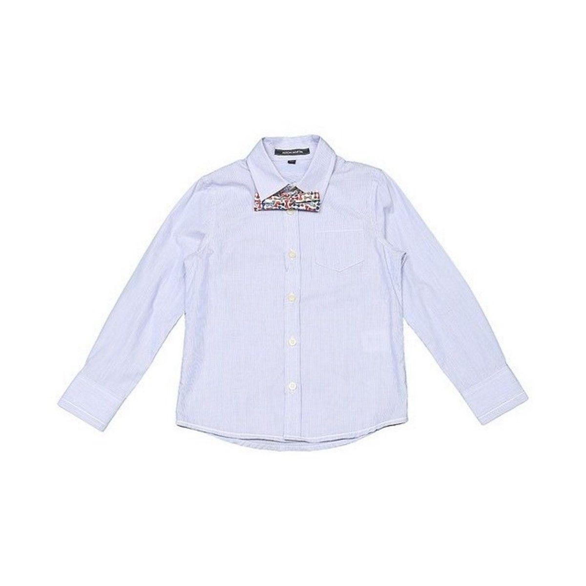 Chemise manches longues bleue avec noeud papillon