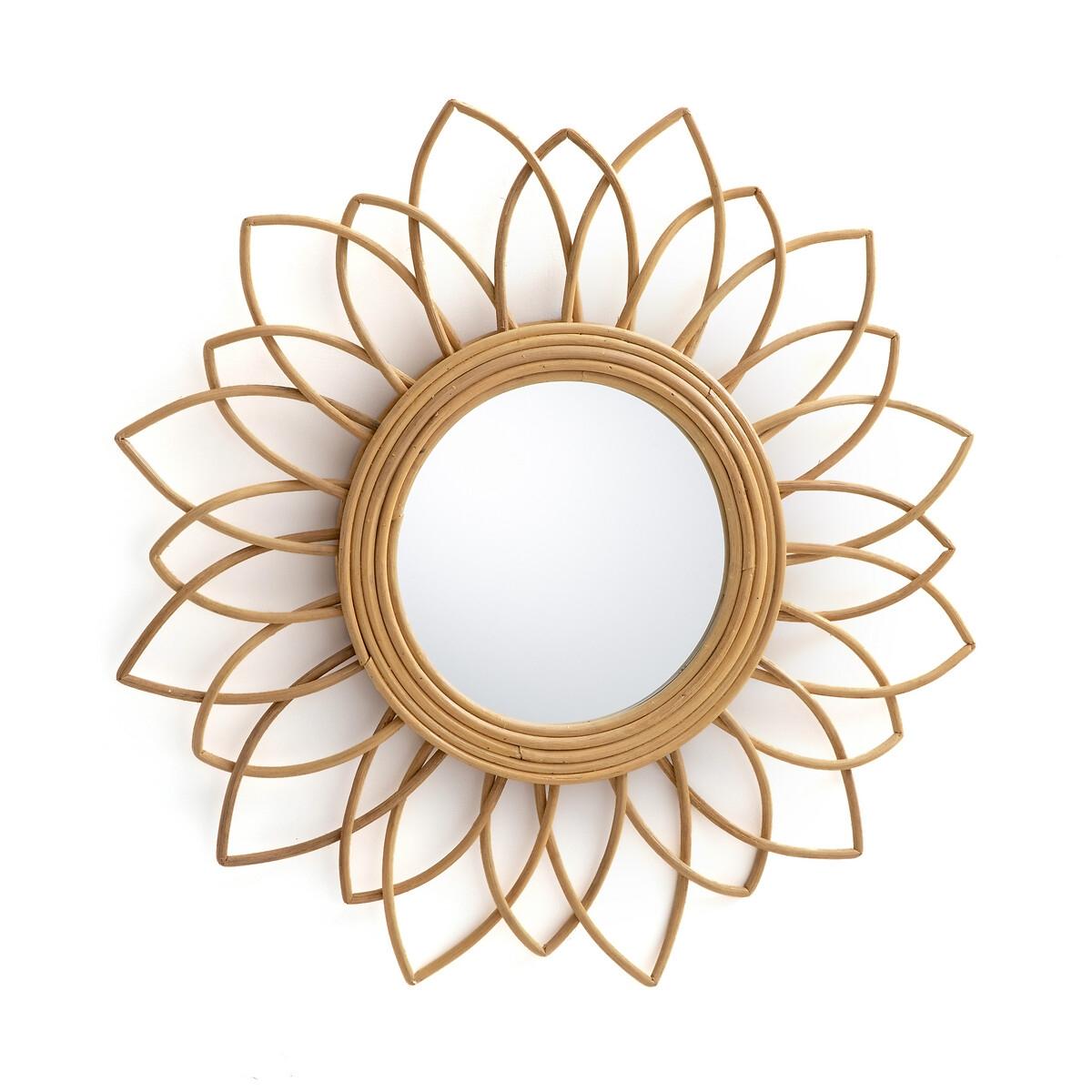 Зеркало La Redoute Из ротанга в форме цветка см Nogu единый размер бежевый корзина la redoute из ротанга x в см zelia единый размер бежевый