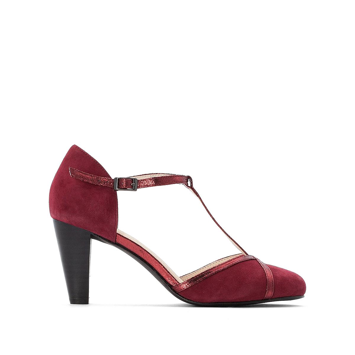 Туфли LaRedoute Кожаные на каблуке 36 красный