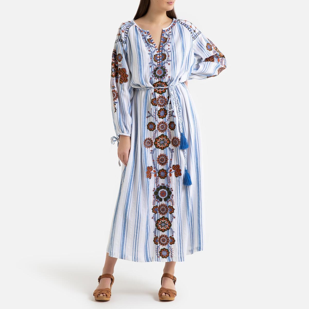 цена Платье La Redoute Длинное с принтом с вышивкой CAMILLA 38 (FR) - 44 (RUS) синий онлайн в 2017 году