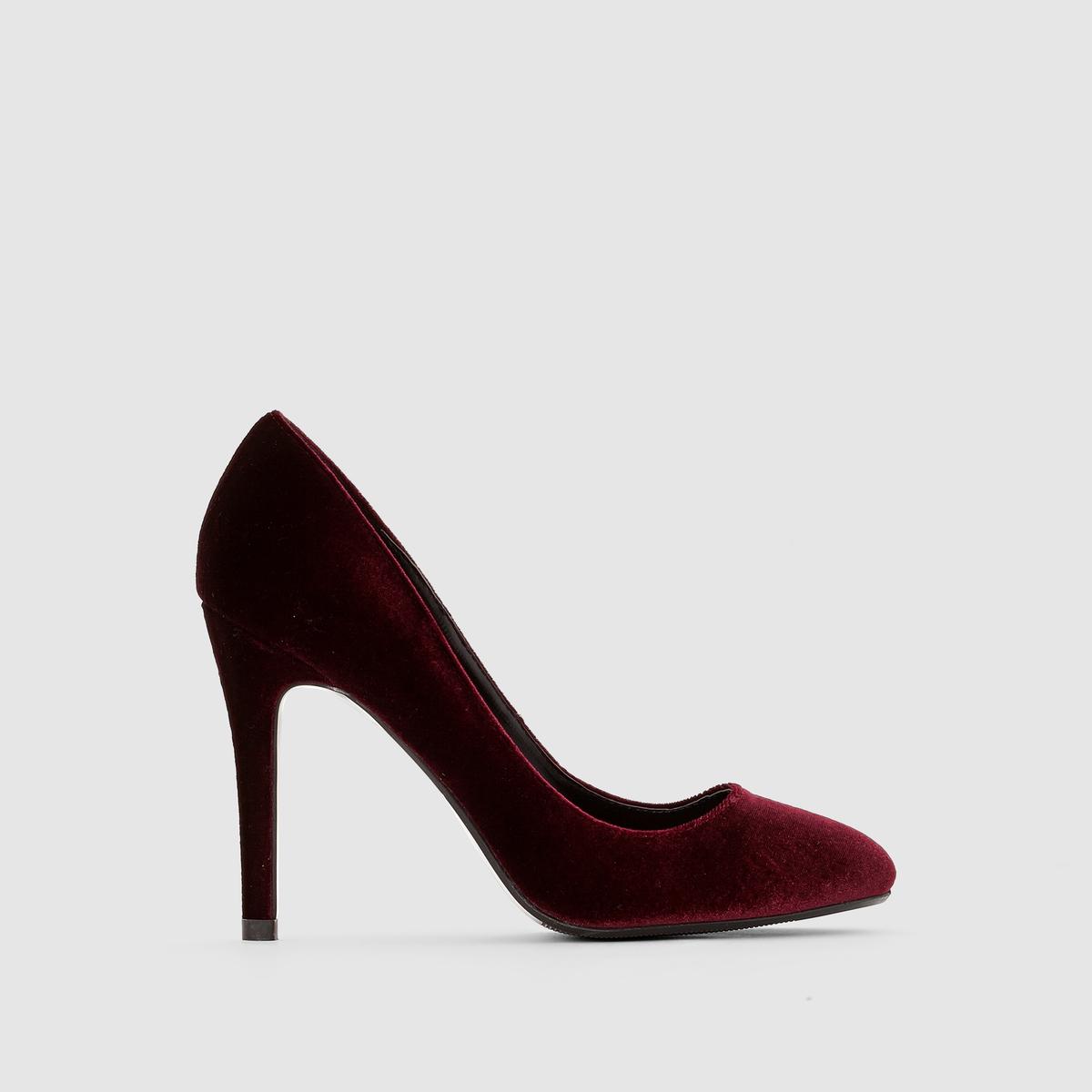 Туфли велюровыеПодкладка : Синтетический материал         Стелька : Синтетический материал         Подошва : эластомер.         Форма каблука : шпилька      Высота каблука: 10 см         Мысок : Закругленный         Застежка : без застежки            Бренд: R Edition.<br><br>Цвет: бордовый,черный<br>Размер: 40.36