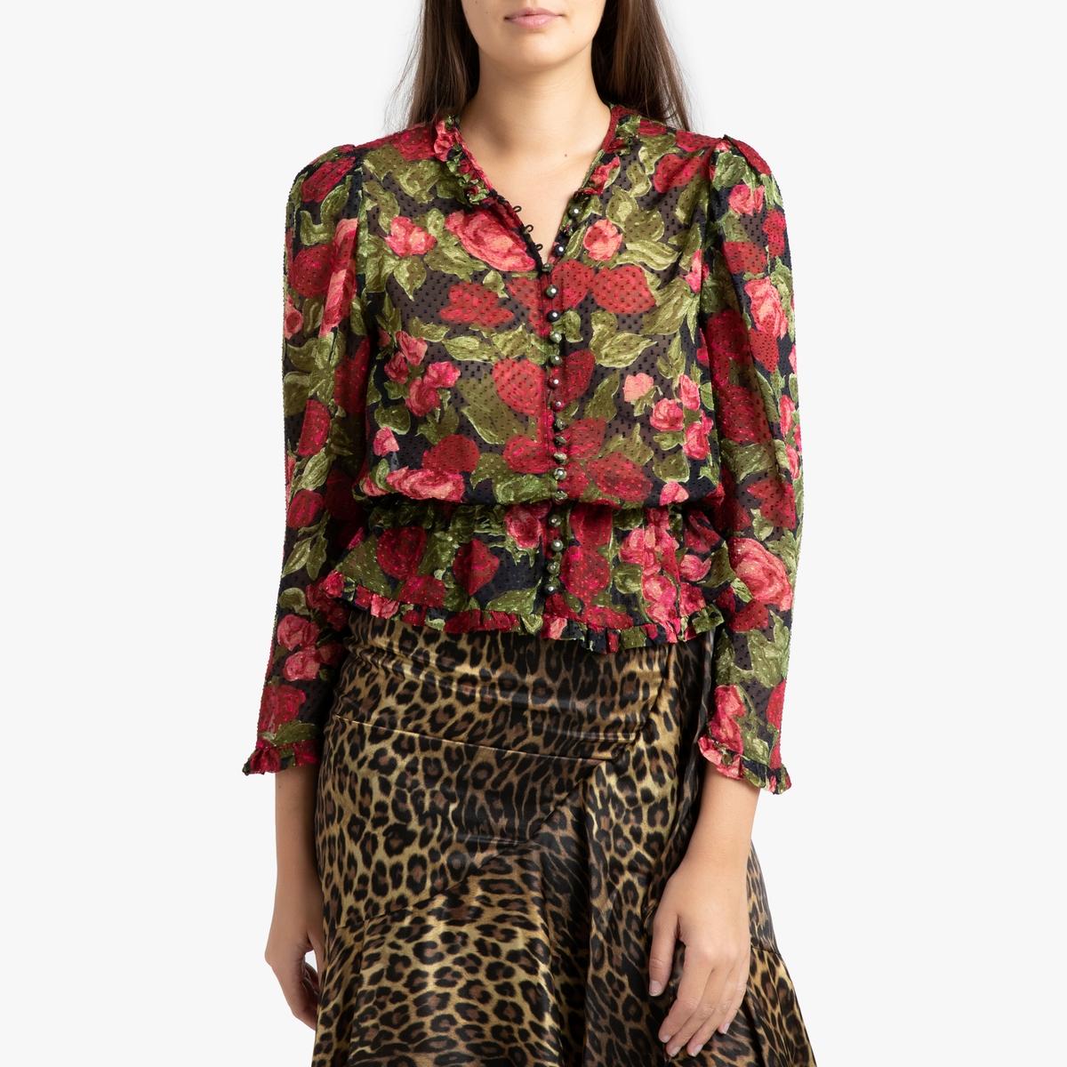 Блузка La Redoute С баской и цветочным рисунком 2(M) разноцветный панно la redoute с цветочным рисунком с эффектом картины rosa единый размер разноцветный