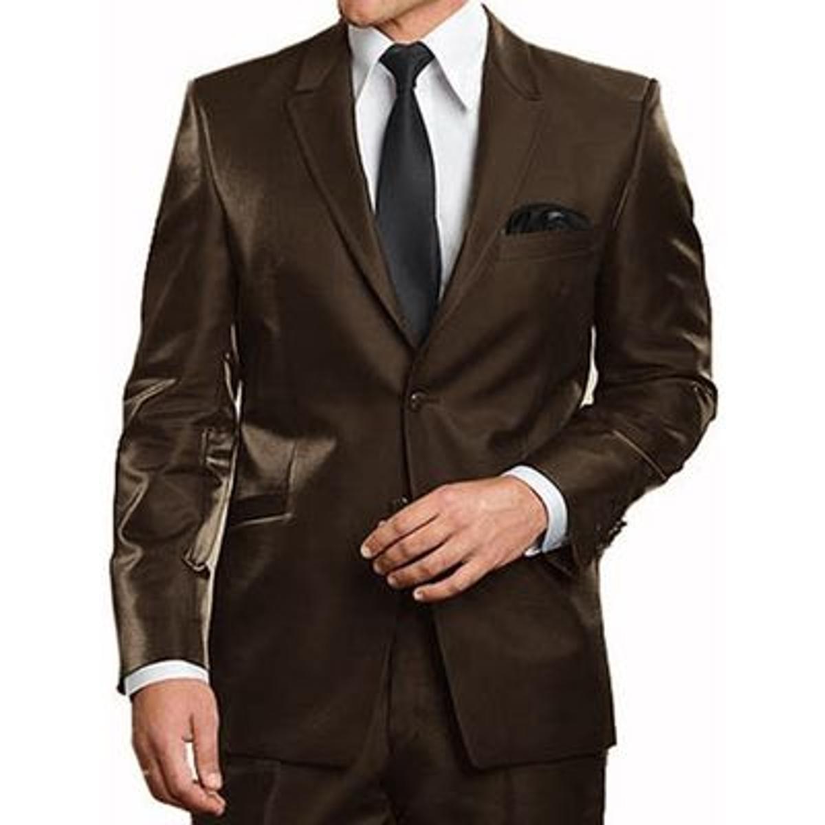 Costume Satin marron 2 Boutons