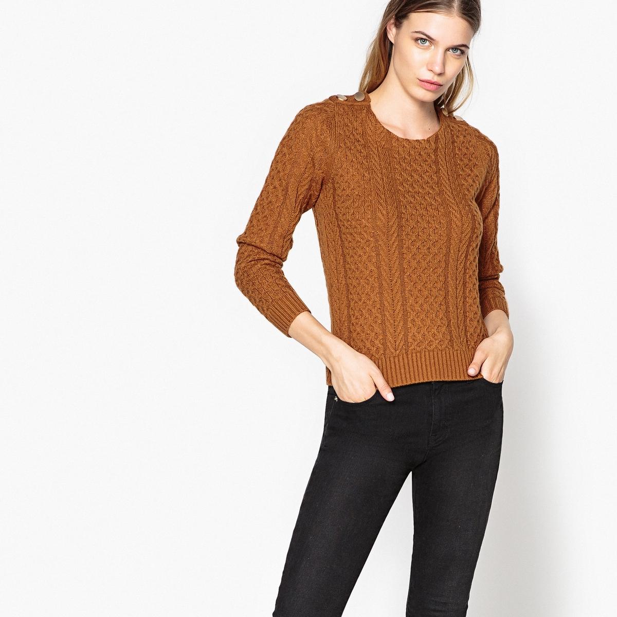 Пуловер с круглым вырезом из плотного трикотажаДетали •  Длинные рукава •  Круглый вырез •  Плотный трикотаж Состав и уход •  55% шерсти, 45% полиамида •  Следуйте советам по уходу, указанным на этикетке<br><br>Цвет: темно-бежевый<br>Размер: S