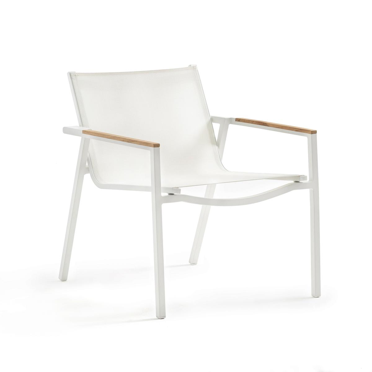 Кресло садовое из текстилена AccodoСадовое кресло Accodo. Удобные спинка и сиденье из текстиленового полотна. Можно дополнить подставкой для ног Accodo (продается на сайте) для большего удобства.Характеристики садового кресла Accodo :Спинка и сиденье из текстиленового полотнаКаркас из алюминия с эпоксидным покрытием  Подлокотники из тикаРазмеры садового кресла Accodo :Ширина : 68 смВысота : 76 смГлубина : 71 смСиденье : Ш55,5 x В44 x Г50,5 смРазмеры и вес упаковки: 1 упаковка78 x 79,5 x 70 см9,3 кгДоставка :Поставляется в собранном виде. Доставка будет осуществлена до вашей квартиры по предварительному согласованию ! Внимание! Убедитесь в том, что дверные, лестничные и лифтовые проемы позволяют осуществить доставку товара с указанными габаритами.<br><br>Цвет: белый,черный