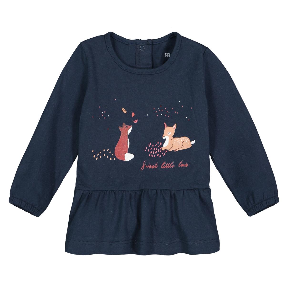 Футболка La Redoute С длинными рукавами с воланом мес- года 1 мес. - 54 см синий футболка la redoute с длинными рукавами с вышивкой мес года 0 мес 50 см бежевый