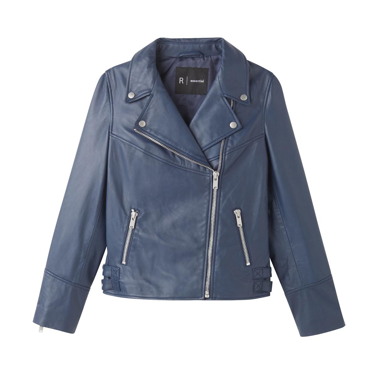 Блузон кожаный в байкерском стиле блузон кожаный
